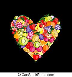 énergie, fruit, forme coeur, pour, ton, conception