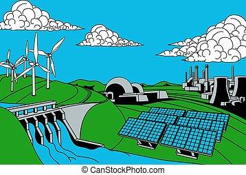 énergie, génération, sources