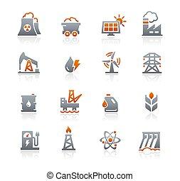 //, énergie, graphite, série, icônes