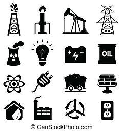 énergie, icône, ensemble
