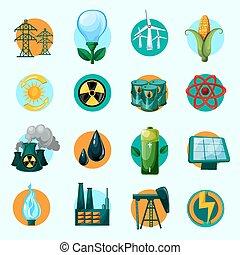 énergie, icônes, ensemble