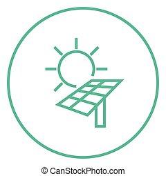 énergie, ligne, icon., solaire