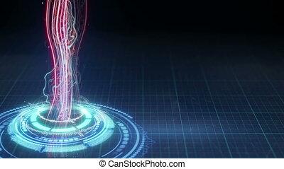 énergie, loopable, faisceau, forme, futuriste, circulaire