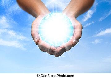 énergie, mains, ton, globe