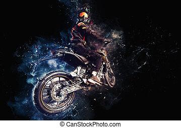 énergie, motard, action