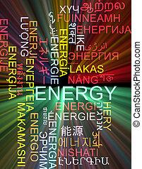 énergie, multilanguage, wordcloud, fond, concept, incandescent