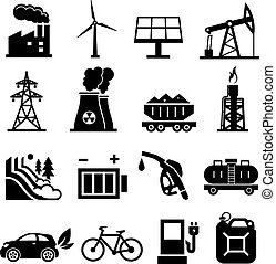 énergie, noir, icônes