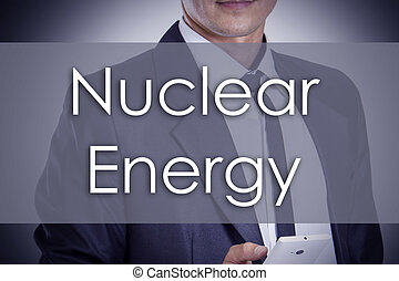 énergie nucléaire, -, jeune, homme affaires, à, texte, -, concept affaires