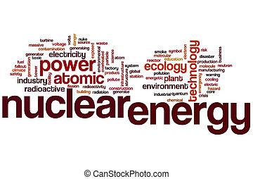 énergie nucléaire, mot, nuage
