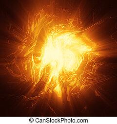 énergie, plasma, oragne, fond