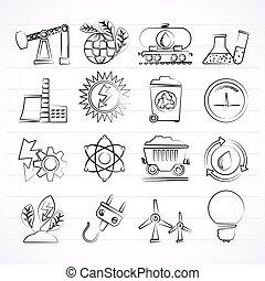 énergie, production, puissance, icônes