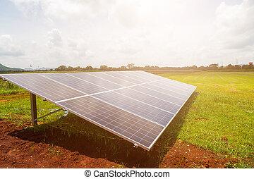 énergie, propre, fin, panneaux, cellule solaire, haut