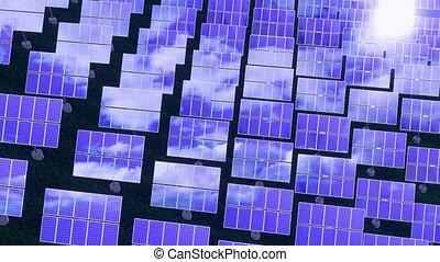 énergie solaire, 3d, -, renouvelable, animation, concept, panneaux, 4k