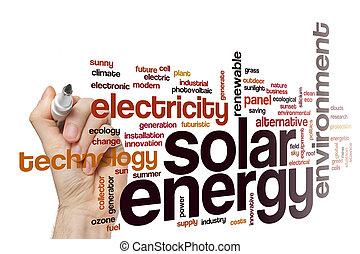 énergie solaire, mot, nuage, concept