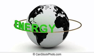 énergie, tourne, vert, anneau, or