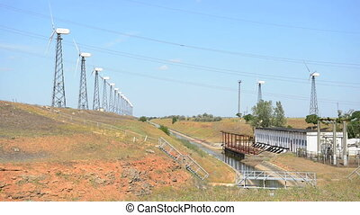 énergie, turbines., vert, vent
