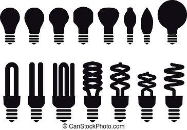 énergie, vecteur, économie, ampoules