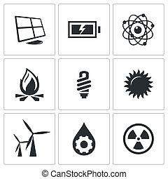 énergie, vecteur, ensemble, icônes