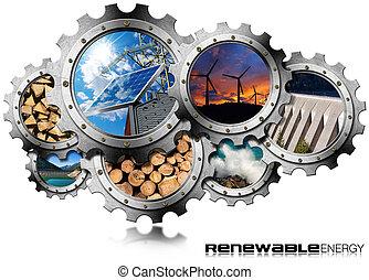 énergies renouvelables, concept, -, métal, engrenages