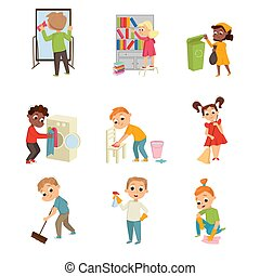 énergique, housecleaning, enfants, frottement, ensemble, ...