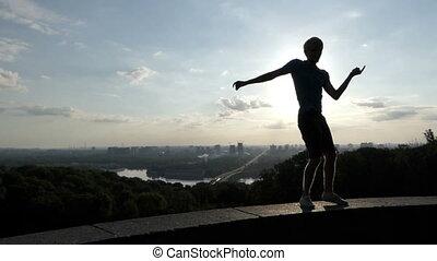 énergique, slo-mo, mur, rumba, danses, coucher soleil, rive, homme