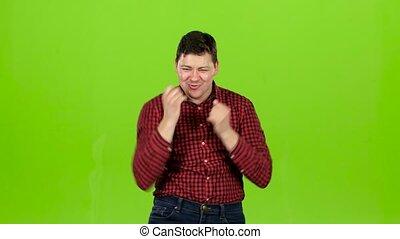 énergiquement, il, danse, écran, vert, fun., avoir, homme
