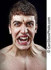 énfasis, concepto, -, enojado, furioso, enojado, hombre