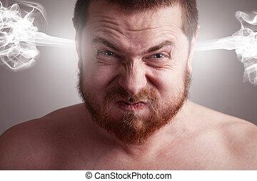 énfasis, concepto, -, enojado, hombre, con, estallar, cabeza