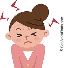 énfasis, frustrado, mujeres
