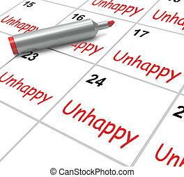 énfasis, medios, problemas, infeliz, tristeza, calendario, o