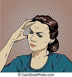 énfasis, mujer, arte, dolor de cabeza, Ilustración, vector,...