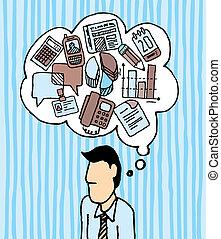 énfasis, ocupado, iconos, trabajo, /, adicto al trabajo, hombre de negocios