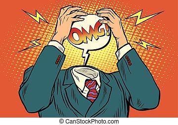 énfasis, omg, o, dolor de cabeza
