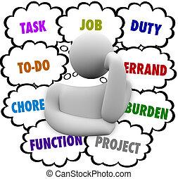 énfasis, tarea, pensamiento, muchos, mandados, tarea, persona, trabajo