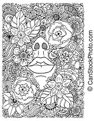 énfasis, vector, white., negro, anti, flowers., garabato, niña, adults., libro, ahogado, exercise., drawing., ilustración, meditativo, colorido