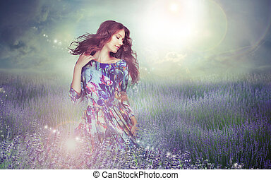 énigmatique, femme, fantasy., pré, sur, ciel, nuageux