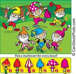 énigme, champignons, gnomes