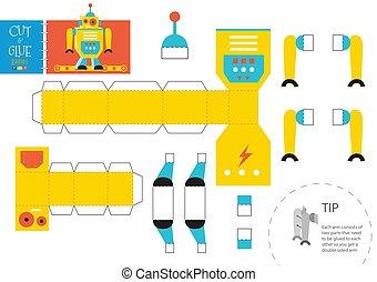 énigme, jouet, illustration., robot, vecteur, papier, coupure, métier, bricolage, colle