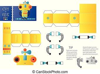 énigme, jouet, worksheet., illustration, robot, vecteur, papier, coupure, métier, bricolage, colle