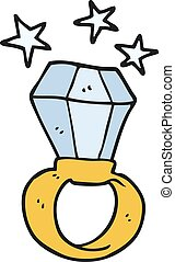 énorme, anneau, engagement, dessin animé