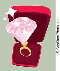 énorme, anneau, engagement, diamant
