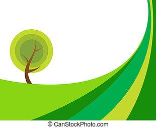 énorme, arbre, illustration