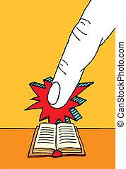énorme, bible, doigt indique