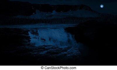 énorme, chute eau, nuit, lune