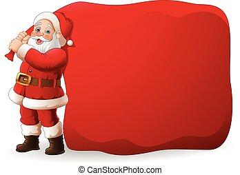 énorme, clause, sac, traction, santa, dessin animé