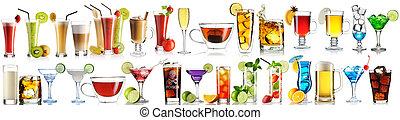 énorme, collection, boissons