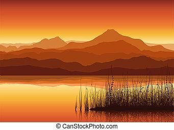 énorme, coucher soleil, lac, montagnes