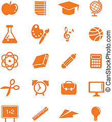 énorme, education, ensemble, icône