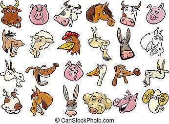 énorme, ensemble, têtes, animaux ferme, dessin animé