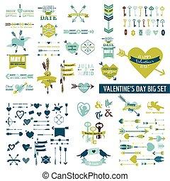 énorme, ensemble, valentine, sur, étiquettes, -, clés, jour, vecteur, flèches, cœurs, 100, cupidon, éléments